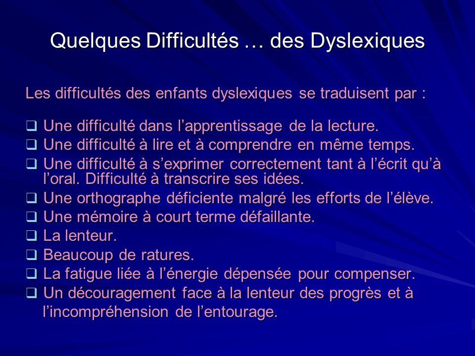 Quelques Difficultés … des Dyslexiques Les difficultés des enfants dyslexiques se traduisent par : Une difficulté dans lapprentissage de la lecture. U