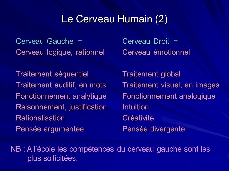 Le Cerveau Humain (2) Cerveau Gauche = Cerveau logique, rationnel Traitement séquentiel Traitement auditif, en mots Fonctionnement analytique Raisonne