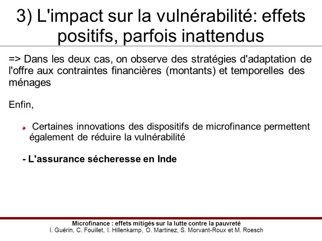 3) L impact sur la vulnérabilité: effets positifs, parfois inattendus Microfinance : effets mitigés sur la lutte contre la pauvreté I.