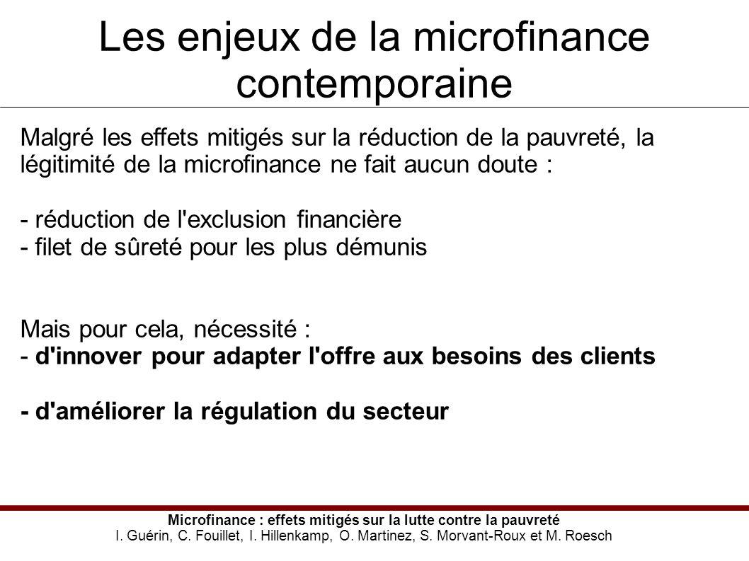 Les enjeux de la microfinance contemporaine Microfinance : effets mitigés sur la lutte contre la pauvreté I.