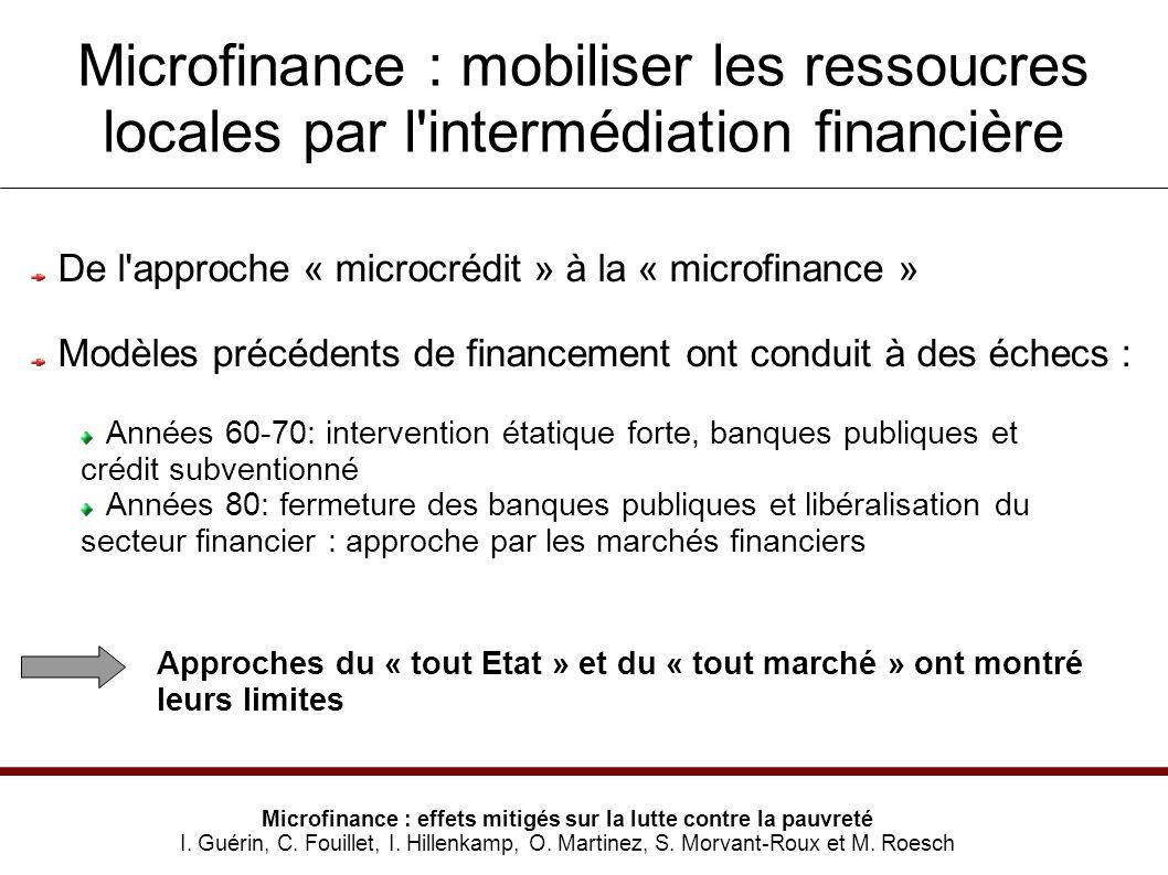 Microfinance : mobiliser les ressoucres locales par l intermédiation financière Microfinance : effets mitigés sur la lutte contre la pauvreté I.