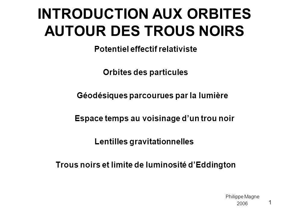 1 INTRODUCTION AUX ORBITES AUTOUR DES TROUS NOIRS Potentiel effectif relativiste Orbites des particules Géodésiques parcourues par la lumière Espace t