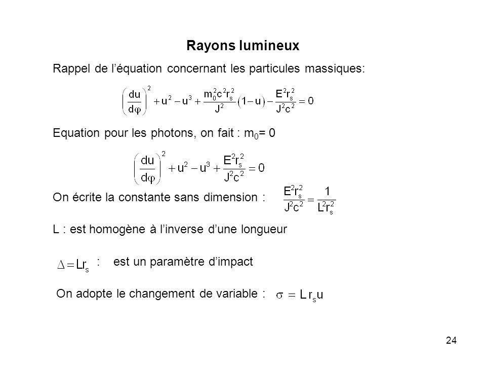24 Rayons lumineux Rappel de léquation concernant les particules massiques: Equation pour les photons, on fait : m 0 = 0 On écrite la constante sans d