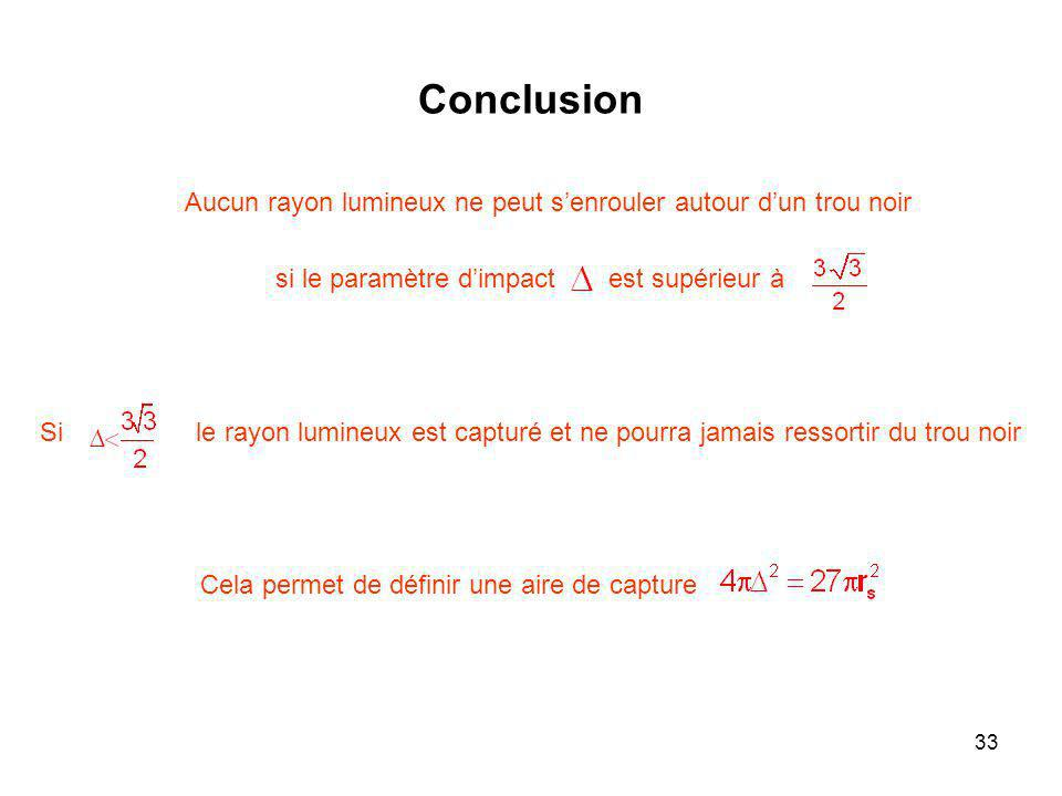 33 Conclusion Aucun rayon lumineux ne peut senrouler autour dun trou noir si le paramètre dimpact est supérieur à Si le rayon lumineux est capturé et