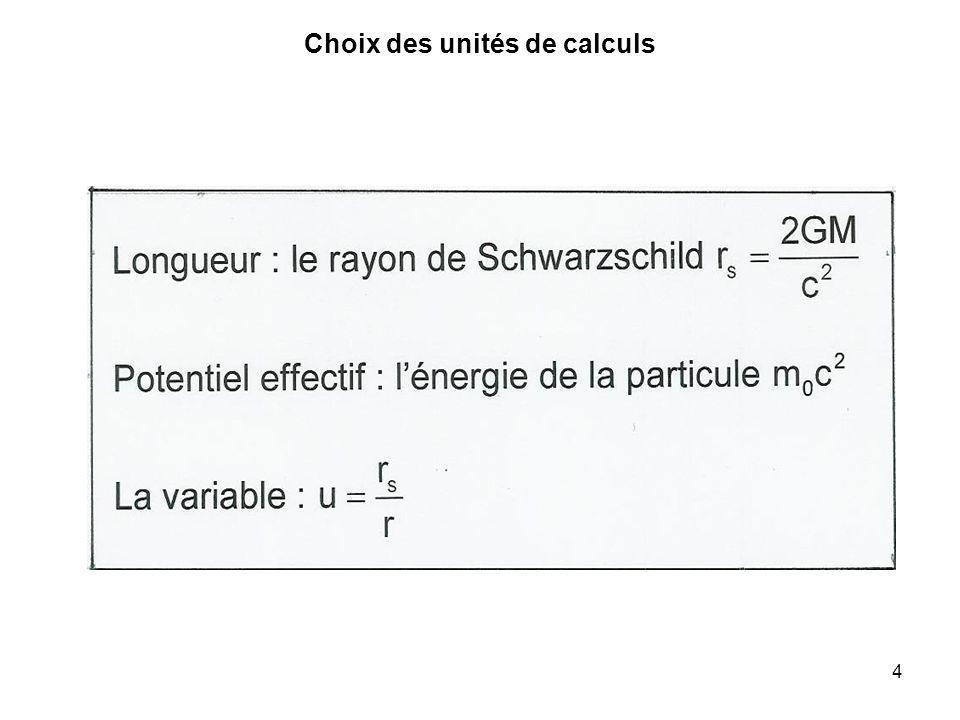 4 Choix des unités de calculs