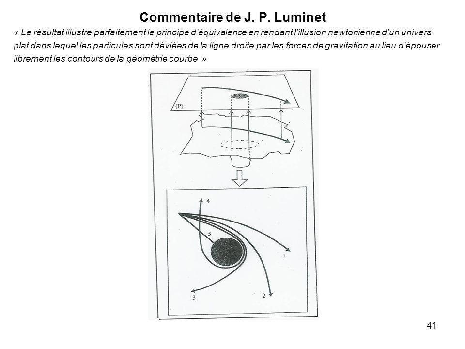 41 Commentaire de J. P. Luminet « Le résultat illustre parfaitement le principe déquivalence en rendant lillusion newtonienne dun univers plat dans le