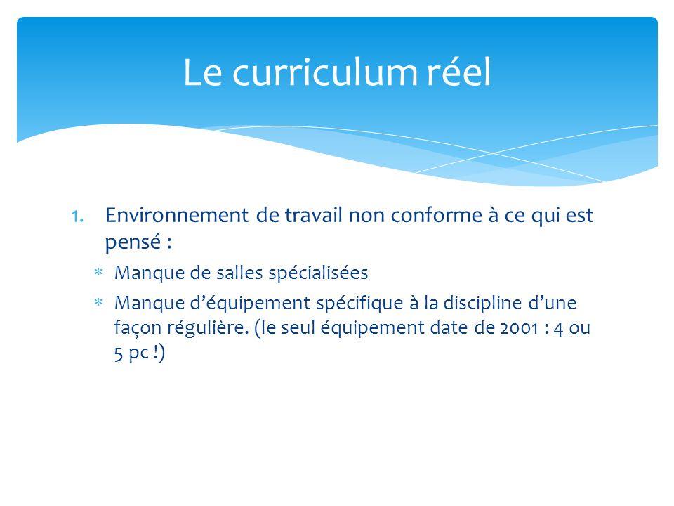 1.Environnement de travail non conforme à ce qui est pensé : Manque de salles spécialisées Manque déquipement spécifique à la discipline dune façon régulière.