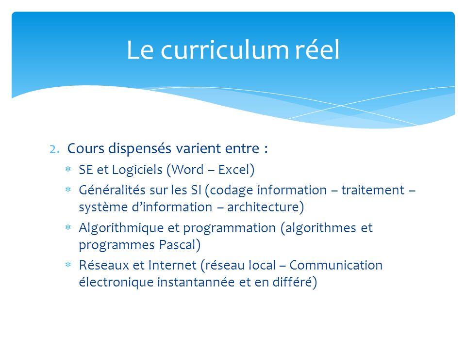2. Cours dispensés varient entre : SE et Logiciels (Word – Excel) Généralités sur les SI (codage information – traitement – système dinformation – arc