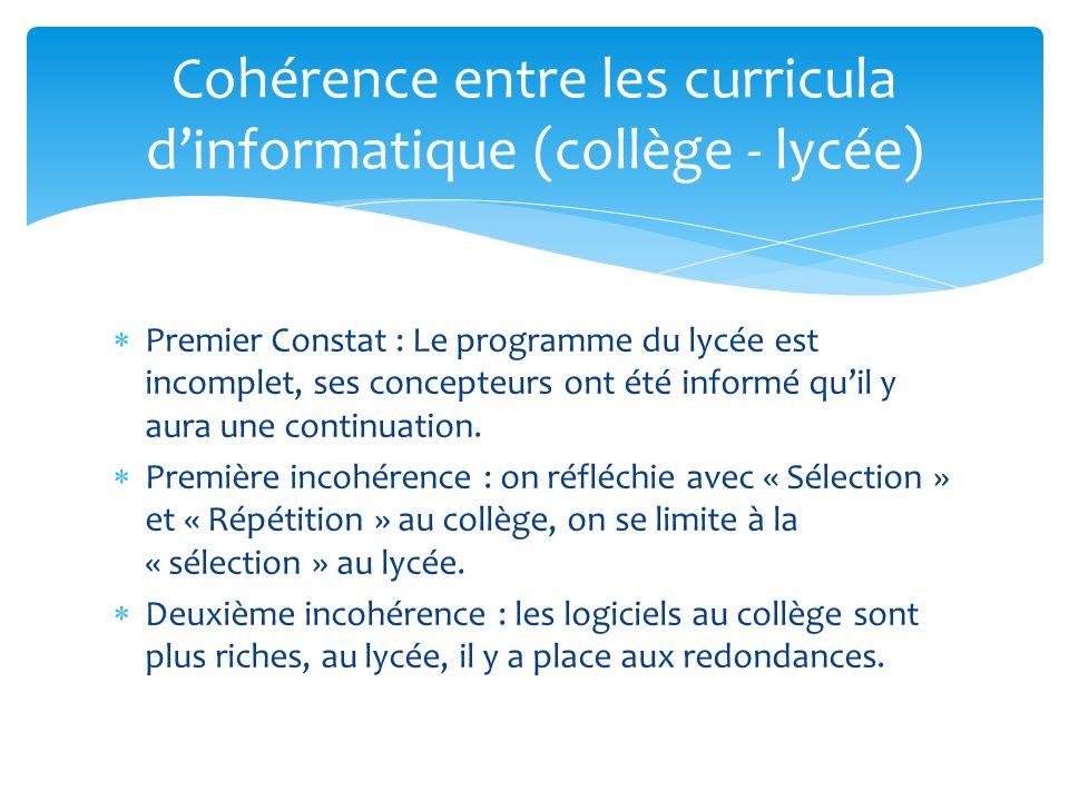 Premier Constat : Le programme du lycée est incomplet, ses concepteurs ont été informé quil y aura une continuation.
