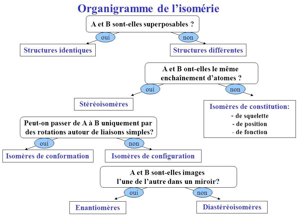 Organigramme de lisomérie Structures identiquesStructures différentes A et B sont-elles superposables ? A et B ont-elles le même enchaînement datomes