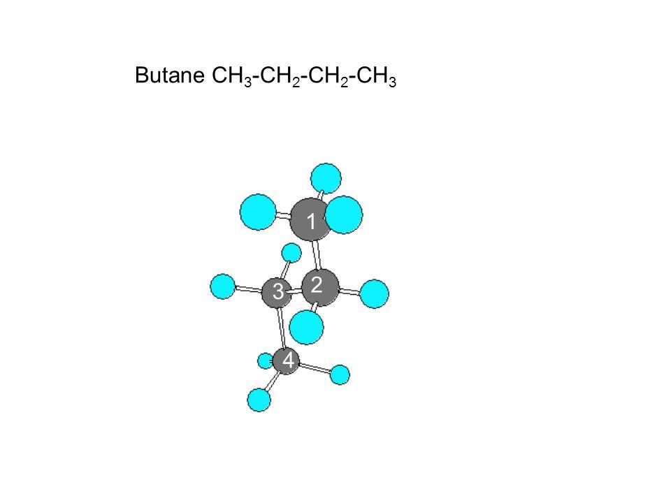 Butane CH 3 -CH 2 -CH 2 -CH 3 1 2 3 4