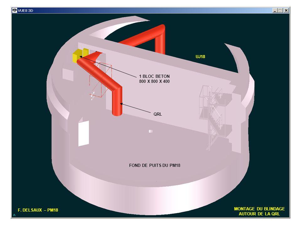 5 F. DELSAUX – PM18 MONTAGE DU BLINDAGE AUTOUR DE LA QRL FOND DE PUITS DU PM18 QRL UJ18 1 BLOC BETON 800 X 800 X 400