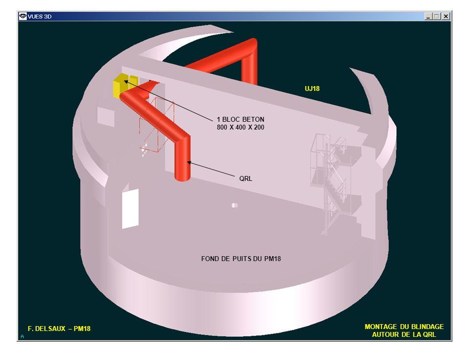 6 F. DELSAUX – PM18 MONTAGE DU BLINDAGE AUTOUR DE LA QRL FOND DE PUITS DU PM18 QRL UJ18 1 BLOC BETON 800 X 400 X 200