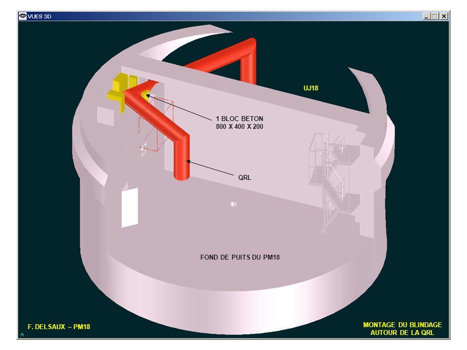 9 F. DELSAUX – PM18 MONTAGE DU BLINDAGE AUTOUR DE LA QRL FOND DE PUITS DU PM18 QRL UJ18 1 BLOC BETON 800 X 400 X 200