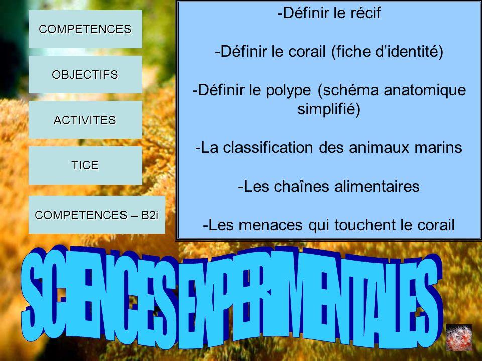 -Définir le récif -Définir le corail (fiche didentité) -Définir le polype (schéma anatomique simplifié) -La classification des animaux marins -Les cha