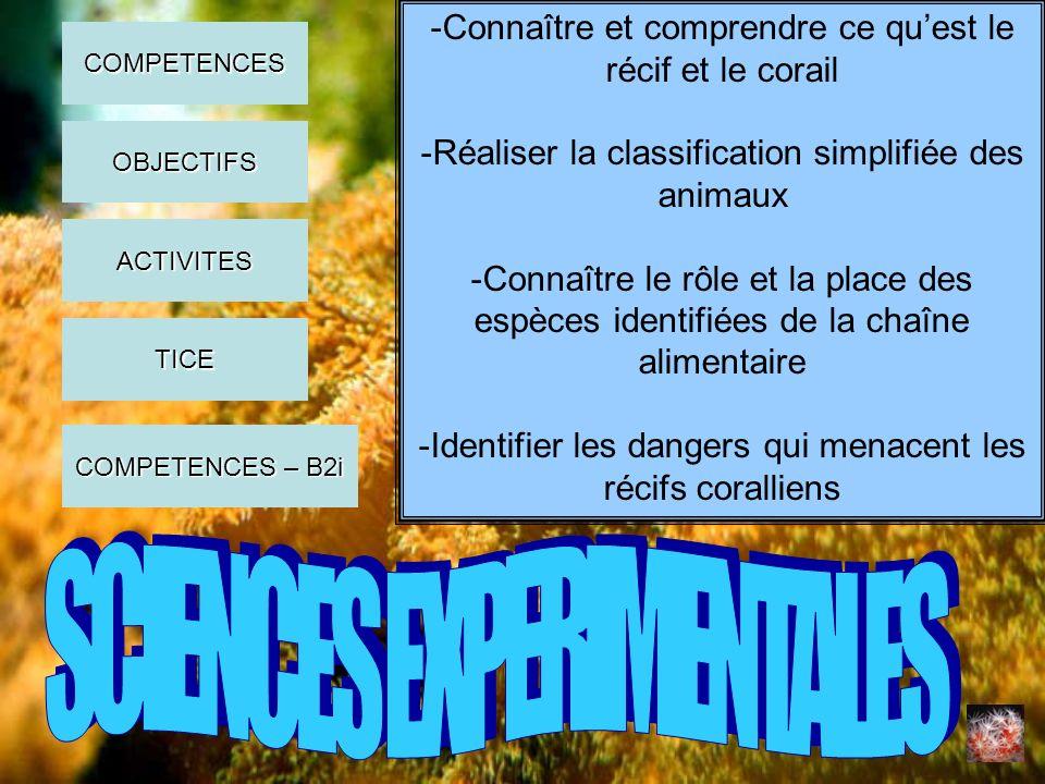 -Connaître et comprendre ce quest le récif et le corail -Réaliser la classification simplifiée des animaux -Connaître le rôle et la place des espèces
