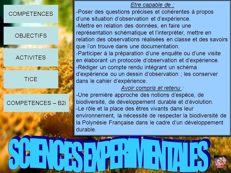 Etre capable de : -Poser des questions précises et cohérentes à propos dune situation dobservation et dexpérience. -Mettre en relation des données, en