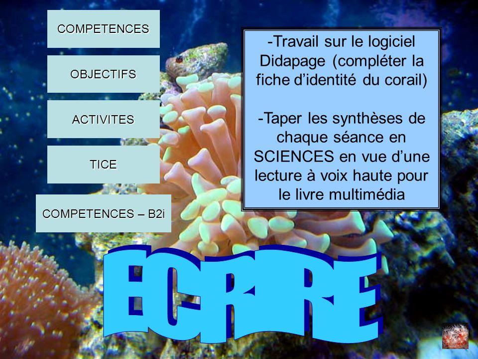 -Travail sur le logiciel Didapage (compléter la fiche didentité du corail) -Taper les synthèses de chaque séance en SCIENCES en vue dune lecture à voi