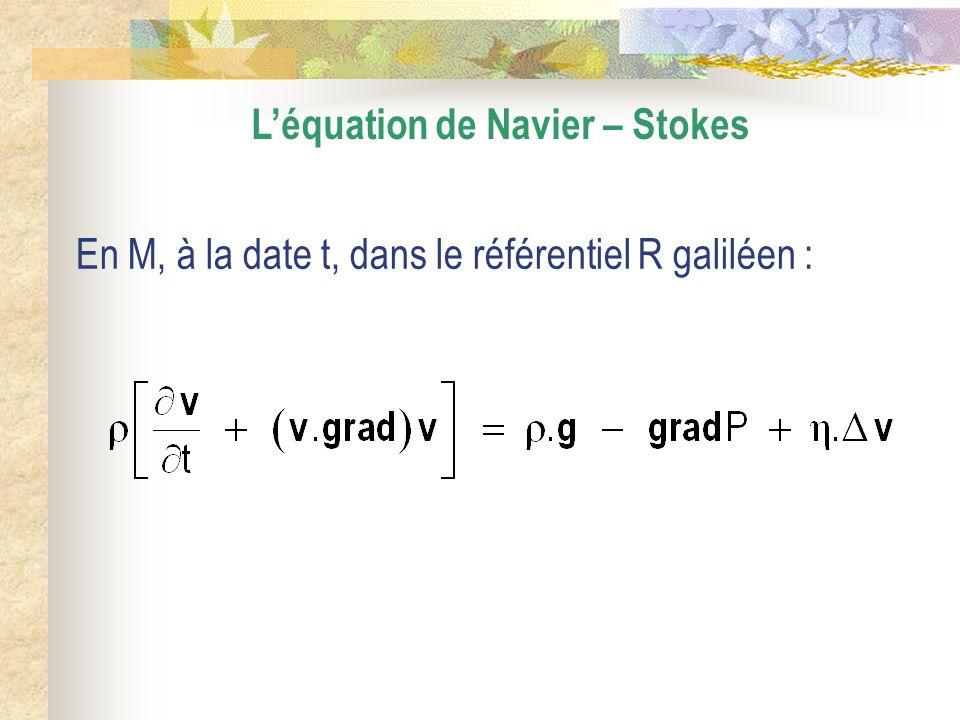 Léquation de Navier – Stokes En M, à la date t, dans le référentiel R galiléen :