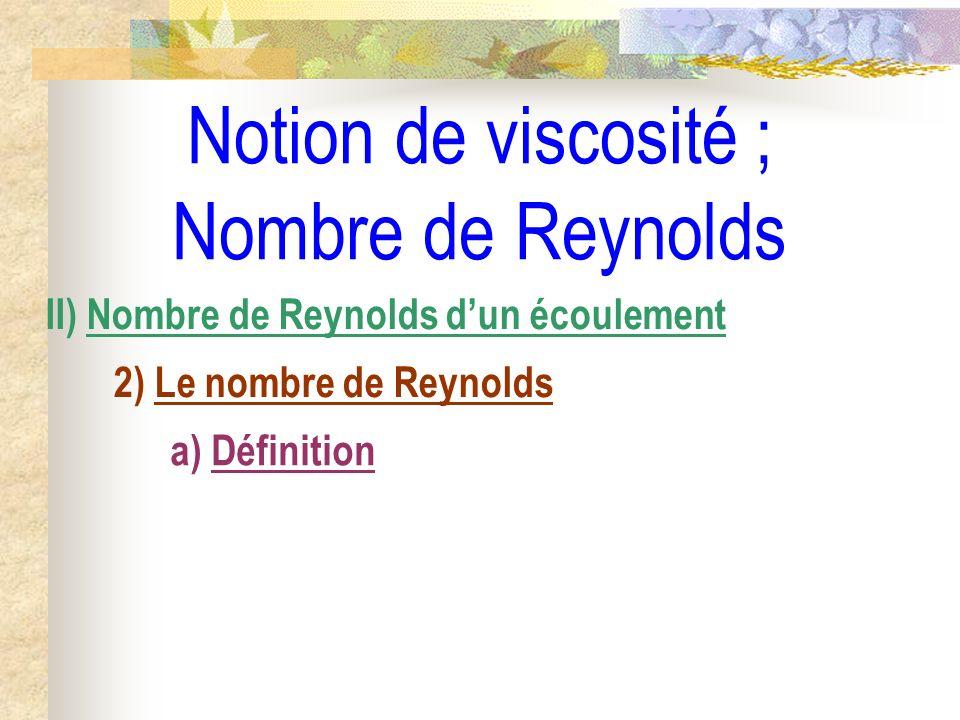 Notion de viscosité ; Nombre de Reynolds II) Nombre de Reynolds dun écoulement 2) Le nombre de Reynolds a) Définition
