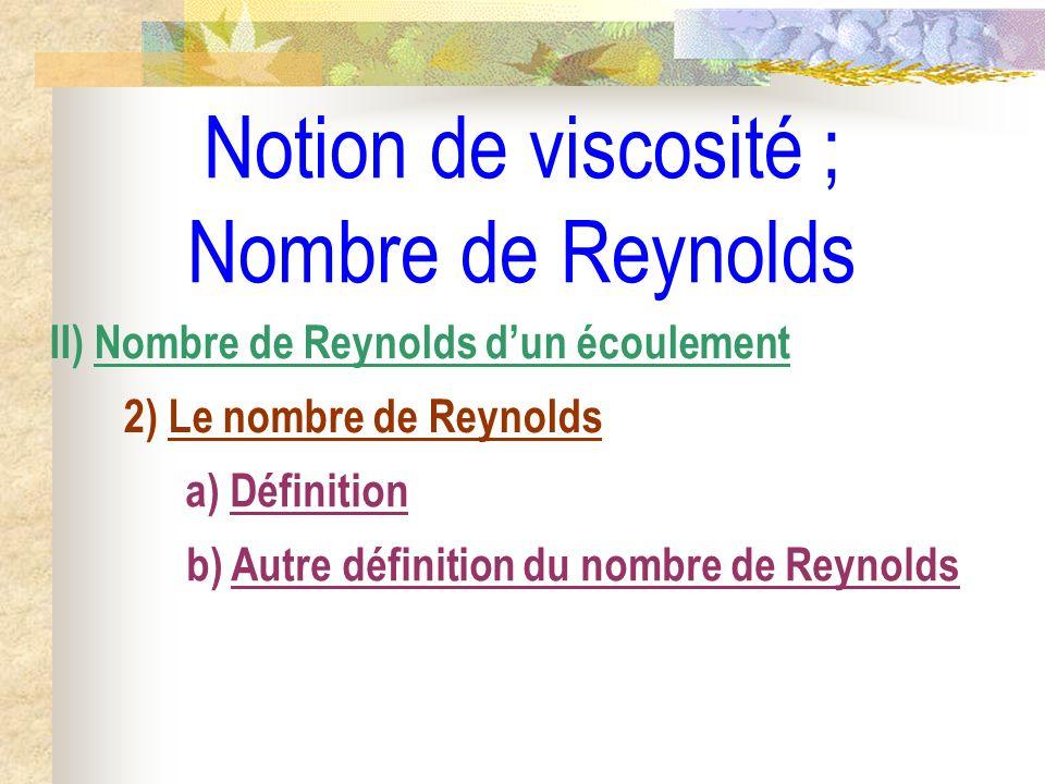Notion de viscosité ; Nombre de Reynolds II) Nombre de Reynolds dun écoulement 2) Le nombre de Reynolds a) Définition b) Autre définition du nombre de