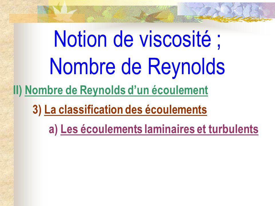 Notion de viscosité ; Nombre de Reynolds II) Nombre de Reynolds dun écoulement 3) La classification des écoulements a) Les écoulements laminaires et t