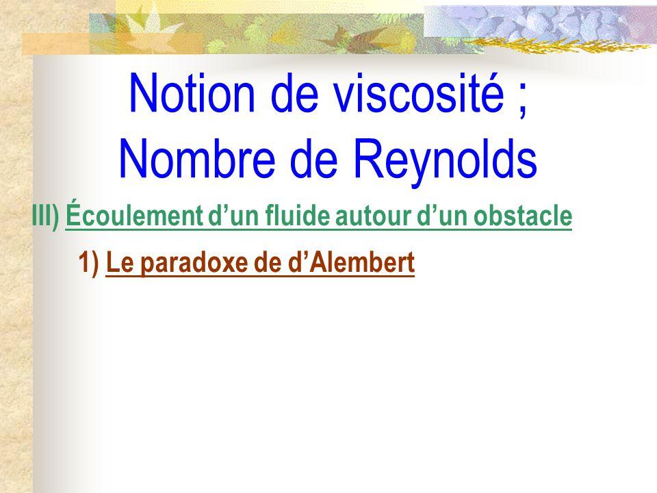 Notion de viscosité ; Nombre de Reynolds III) Écoulement dun fluide autour dun obstacle 1) Le paradoxe de dAlembert