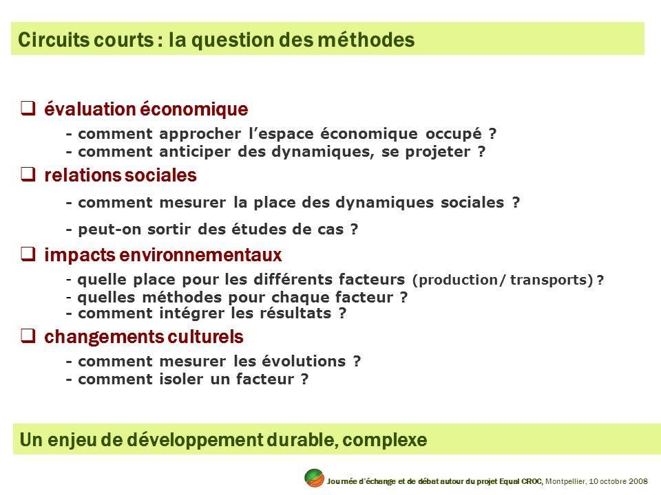 Circuits courts : la question des méthodes évaluation économique - comment approcher lespace économique occupé .