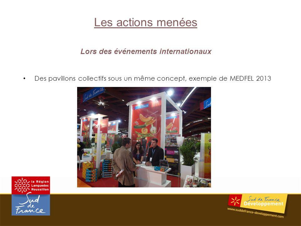 Les actions menées Lors des événements internationaux Des pavillons collectifs sous un même concept, exemple de MEDFEL 2013