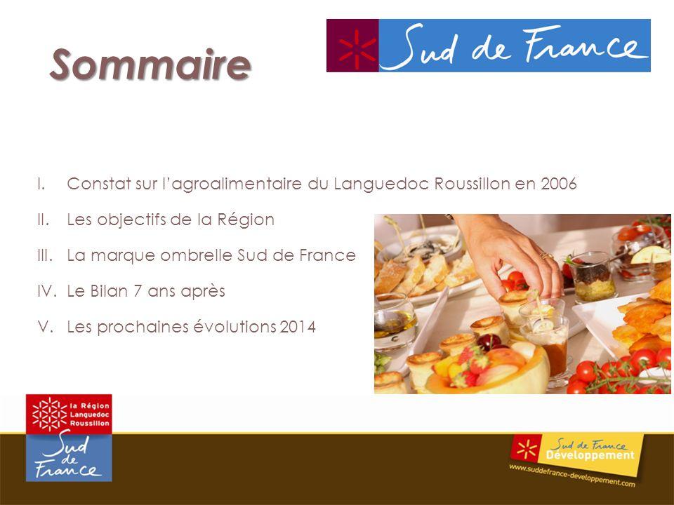 Sommaire I.Constat sur lagroalimentaire du Languedoc Roussillon en 2006 II.Les objectifs de la Région III.La marque ombrelle Sud de France IV.Le Bilan 7 ans après V.Les prochaines évolutions 2014