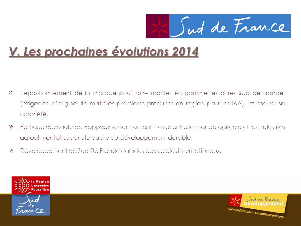 V. Les prochaines évolutions 2014 Repositionnement de la marque pour faire monter en gamme les offres Sud de France, (exigence dorigine de matières pr