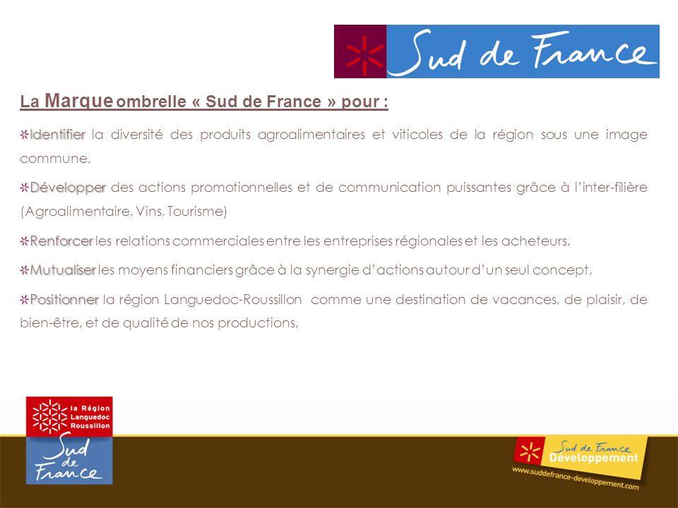 La Marque ombrelle « Sud de France » pour : Identifier Identifier la diversité des produits agroalimentaires et viticoles de la région sous une image commune, Développer Développer des actions promotionnelles et de communication puissantes grâce à linter-filière (Agroalimentaire, Vins, Tourisme) Renforcer Renforcer les relations commerciales entre les entreprises régionales et les acheteurs, Mutualiser Mutualiser les moyens financiers grâce à la synergie dactions autour dun seul concept, Positionner Positionner la région Languedoc-Roussillon comme une destination de vacances, de plaisir, de bien-être, et de qualité de nos productions,
