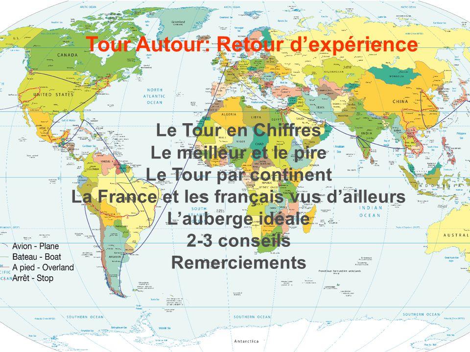 www.tourautour.com Le Tour Autour en Chiffres 2 personnes 12 heures de vidéo 19 pays 45 sites « Unesco » 50 semaines 110 lits, 90 hôtels 11,587 photos 1 848 Kms en bateau 6 719 kms en train 7 089 Kms en voiture 20 733 Kms en bus 66 459 Kms en avion