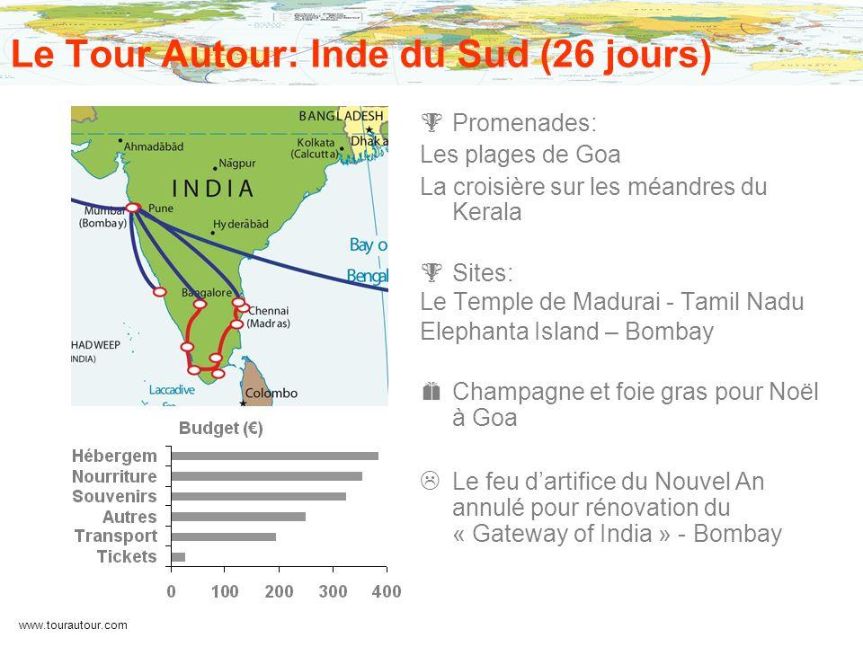 www.tourautour.com Le Tour Autour: Inde du Sud (26 jours) Promenades: Les plages de Goa La croisière sur les méandres du Kerala Sites: Le Temple de Ma