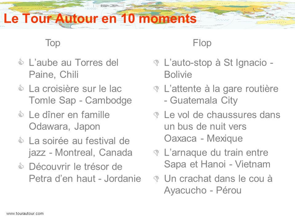 www.tourautour.com Le Tour Autour en 10 moments Laube au Torres del Paine, Chili La croisière sur le lac Tomle Sap - Cambodge Le dîner en famille Odaw