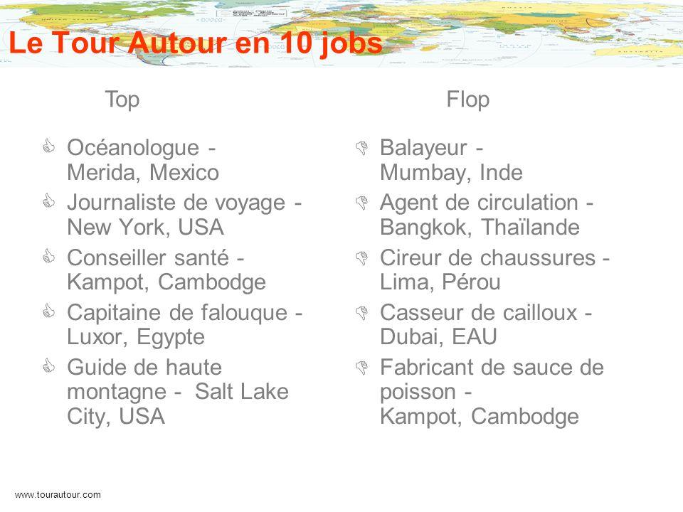 www.tourautour.com Le Tour Autour en 10 jobs Océanologue - Merida, Mexico Journaliste de voyage - New York, USA Conseiller santé - Kampot, Cambodge Ca