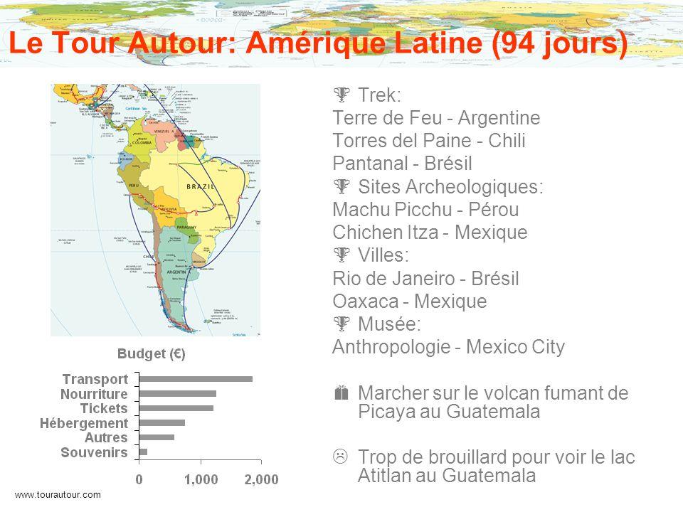 www.tourautour.com Le Tour Autour: Amérique Latine (94 jours) Trek: Terre de Feu - Argentine Torres del Paine - Chili Pantanal - Brésil Sites Archeolo