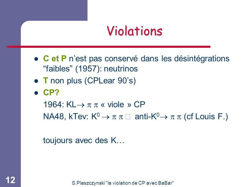 S.Plaszczynski la violation de CP avec BaBar 12 Violations C et P nest pas conservé dans les désintégrations faibles (1957): neutrinos T non plus (CPLear 90s) CP.