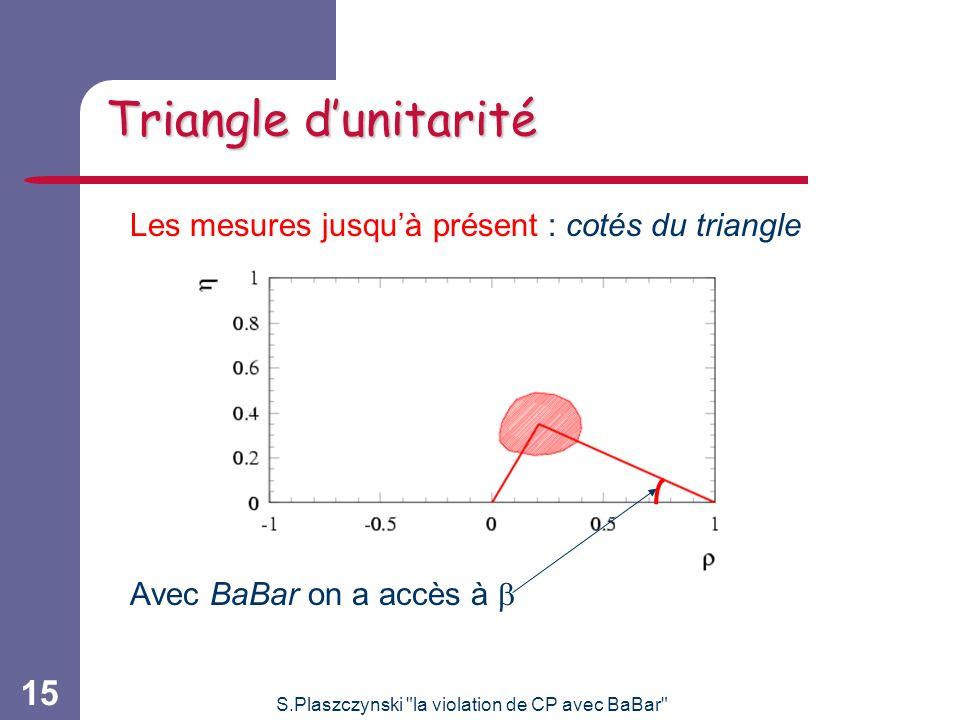 S.Plaszczynski la violation de CP avec BaBar 15 Triangle dunitarité Les mesures jusquà présent : cotés du triangle Avec BaBar on a accès à