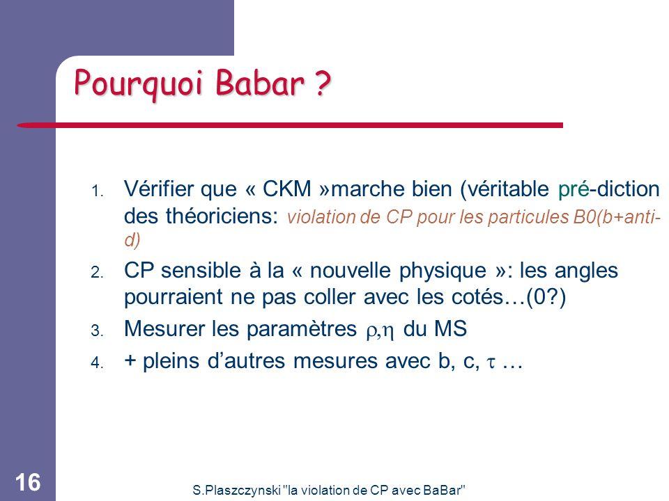 S.Plaszczynski la violation de CP avec BaBar 16 Pourquoi Babar .