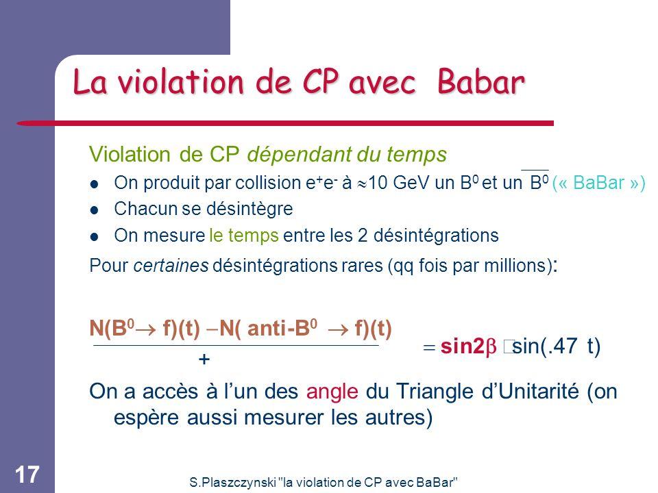 S.Plaszczynski la violation de CP avec BaBar 17 La violation de CP avec Babar Violation de CP dépendant du temps On produit par collision e + e - à 10 GeV un B 0 et un B 0 (« BaBar ») Chacun se désintègre On mesure le temps entre les 2 désintégrations Pour certaines désintégrations rares (qq fois par millions) : N(B 0 f)(t) N( anti-B 0 f)(t) + On a accès à lun des angle du Triangle dUnitarité (on espère aussi mesurer les autres) sin2 sin(.47 t)