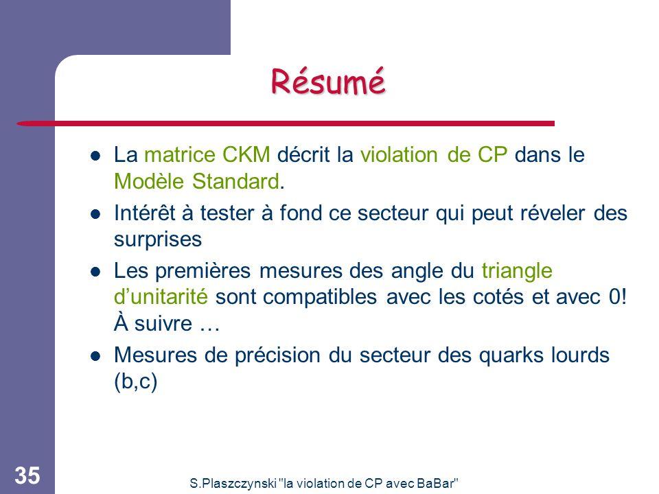 S.Plaszczynski la violation de CP avec BaBar 35 Résumé La matrice CKM décrit la violation de CP dans le Modèle Standard.