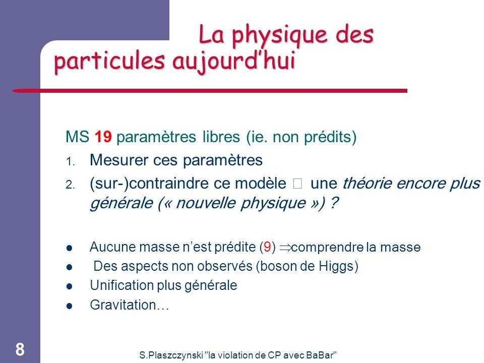 S.Plaszczynski la violation de CP avec BaBar 8 La physique des particules aujourdhui MS 19 paramètres libres (ie.