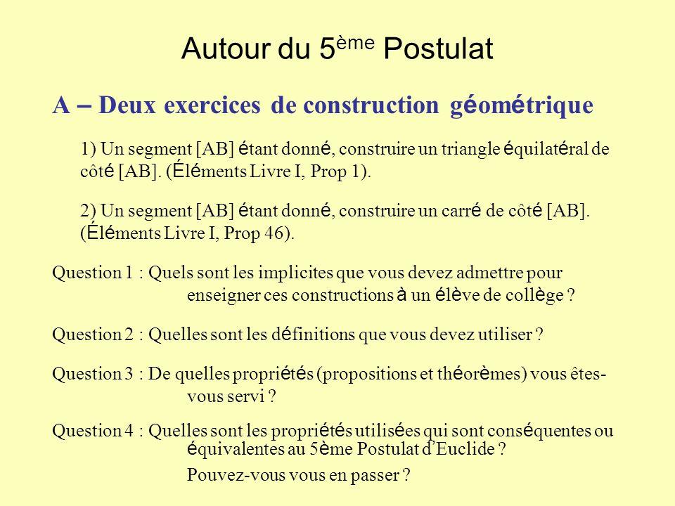 Autour du 5 ème Postulat A – Deux exercices de construction g é om é trique 1) Un segment [AB] é tant donn é, construire un triangle é quilat é ral de