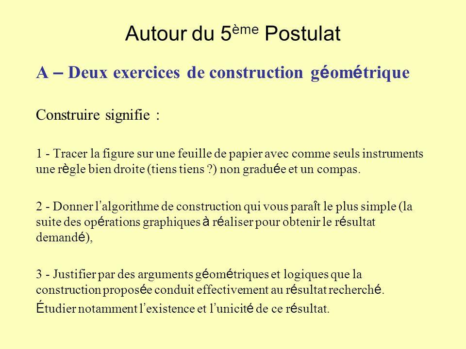 Autour du 5 ème Postulat A – Deux exercices de construction g é om é trique Construire signifie : 1 - Tracer la figure sur une feuille de papier avec
