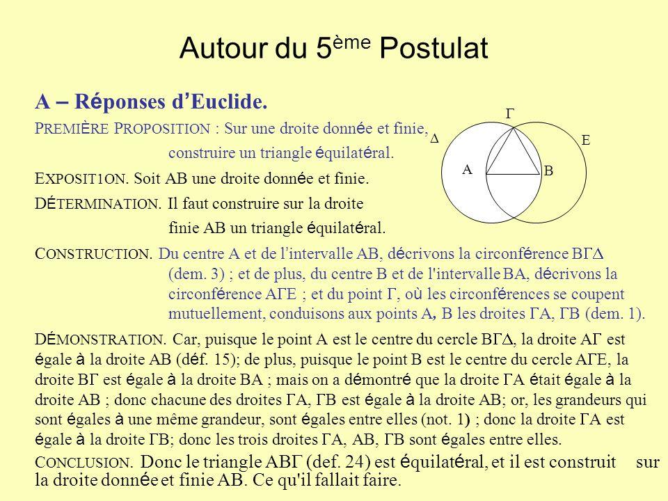 Autour du 5 ème Postulat A – R é ponses d Euclide. P REMI È RE P ROPOSITION : Sur une droite donn é e et finie, construire un triangle é quilat é ral.