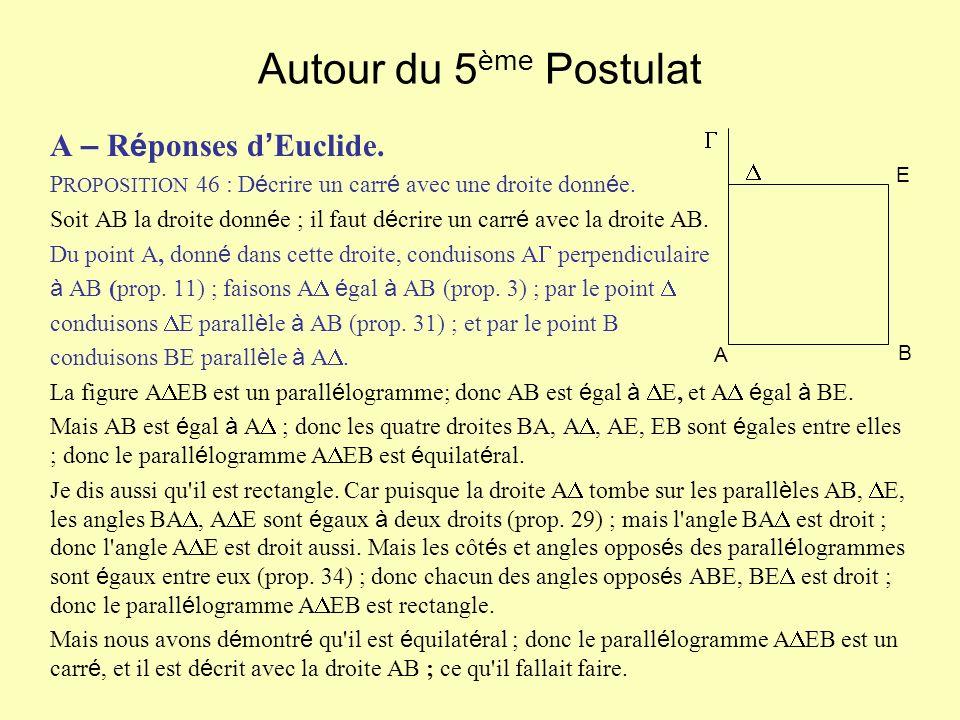 Autour du 5 ème Postulat A – R é ponses d Euclide. P ROPOSITION 46 : D é crire un carr é avec une droite donn é e. Soit AB la droite donn é e ; il fau