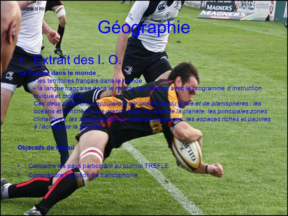 Géographie Extrait des I. O. La France dans le monde - les territoires français dans le monde ; - la langue française dans le monde (en relation avec