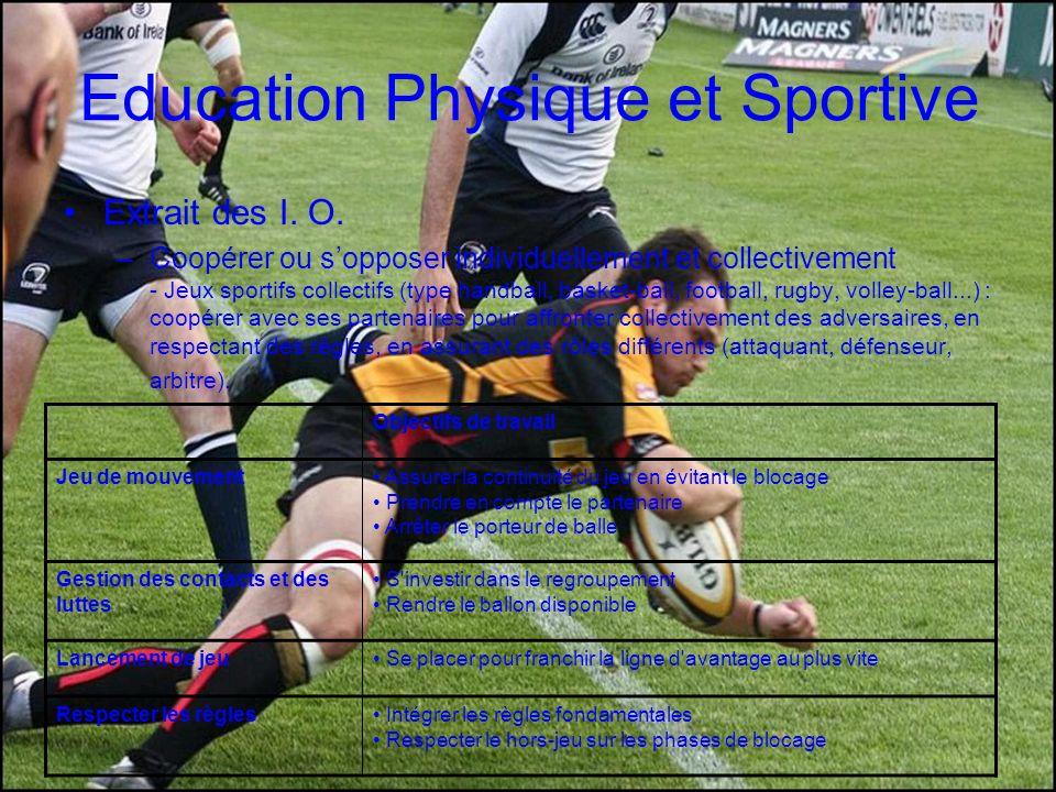 Education Physique et Sportive Extrait des I. O. –Coopérer ou sopposer individuellement et collectivement - Jeux sportifs collectifs (type handball, b