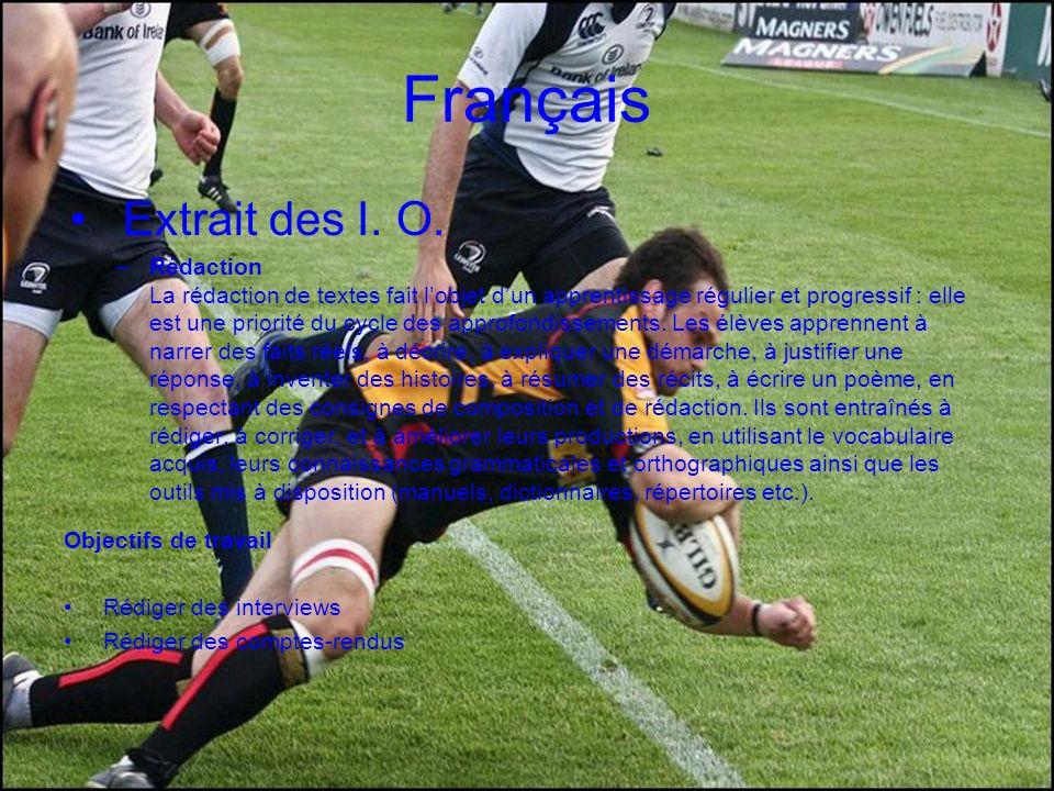 Français Extrait des I. O. –Rédaction La rédaction de textes fait lobjet dun apprentissage régulier et progressif : elle est une priorité du cycle des